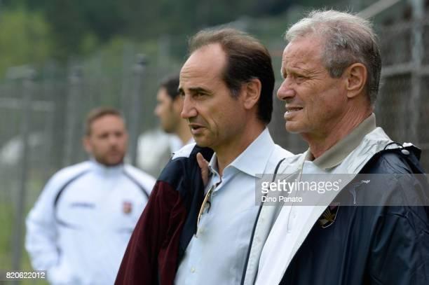 Maurizio Zamparini President and Fabio Lupo director of US Citta di Palermo look on during US Citta di Palermo Training Session at Sport Arena on...