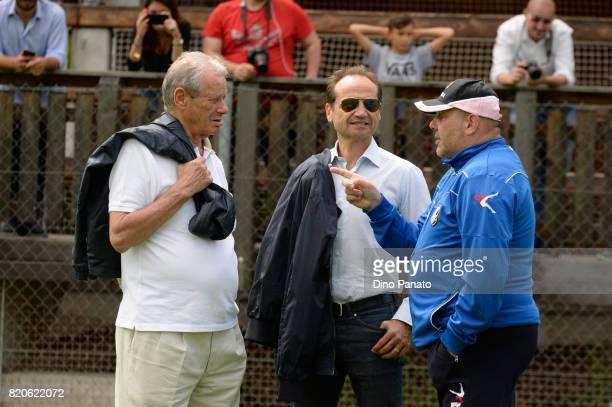 Maurizio Zamparini President Fabio Lupo director and Bruno Tedino head coach of US Citta di Palermo during US Citta di Palermo Training Session at...
