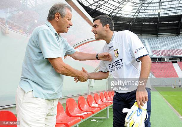 Maurizio Zamparini President of Palermo and goalkeeper Fernando Rubinho shake hands looks on before the preseason friendly match between US Citta di...