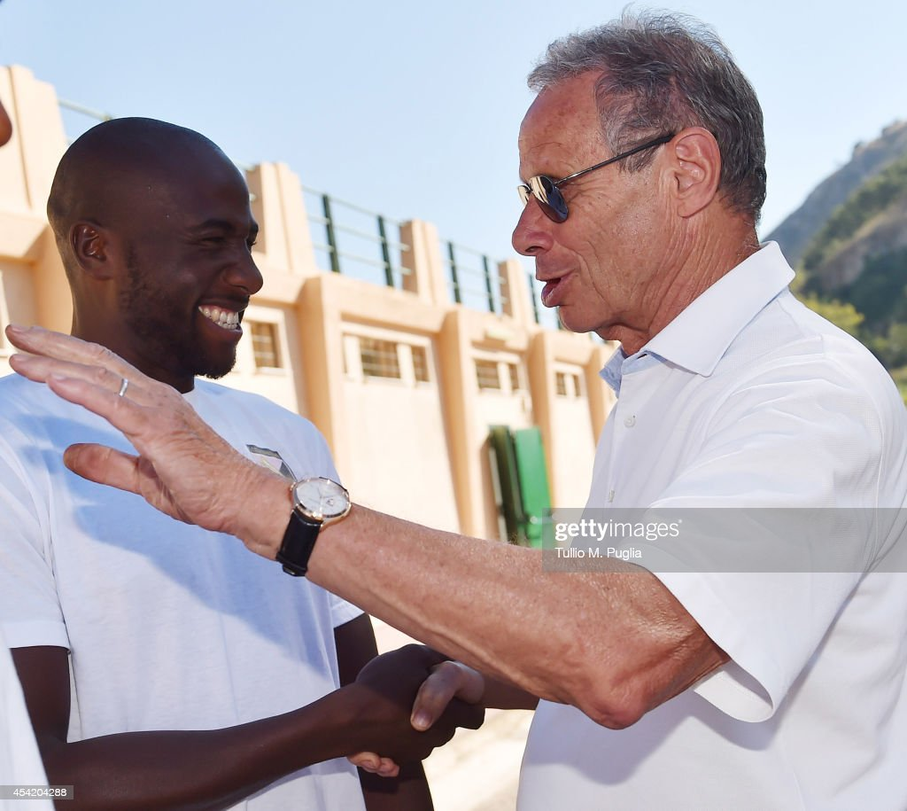 Maurizio Zamparini President of US Citta di Palermo meets new player Souleymane Bamba before a Palermo training session at Tenente Onorato sport...