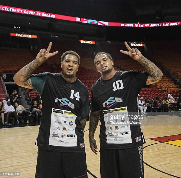 Maurkice and Mike Pouncey participates in Court of Dreams Celebrity Basketball Game at American Airlines Arena on April 19 2015 in Miami Florida