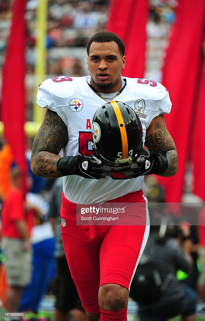 Maurkice Pouncey #53 of the Pittsburgh Steelers and the AFC is introduced before the 2013 Pro Bowl against the National Football Conference team at Aloha Stadium on January 27, 2013 in Honolulu, Hawaii