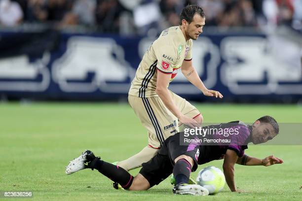 Mauro Arambarri of Bordeaux and Danko Lazovic of Videoton in action during the UEFA Europa League qualifying match between Bordeaux and Videoton at...