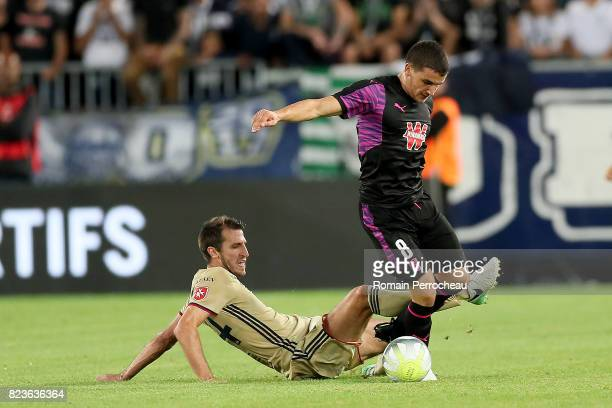 Mauro Arambarri of Bordeaux and Marko Scepovic of Videoton in action during the UEFA Europa League qualifying match between Bordeaux and Videoton at...