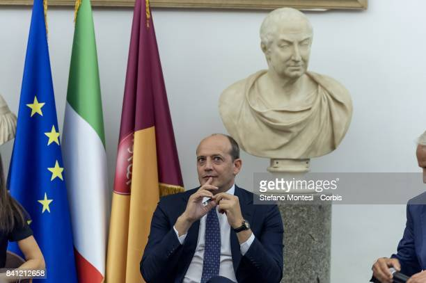 Mauro Baldissoni Director General of As Roma during a press conference at Rome's Capitol Hill on August 31 2017 in Rome Italy The Brazilian soccer...