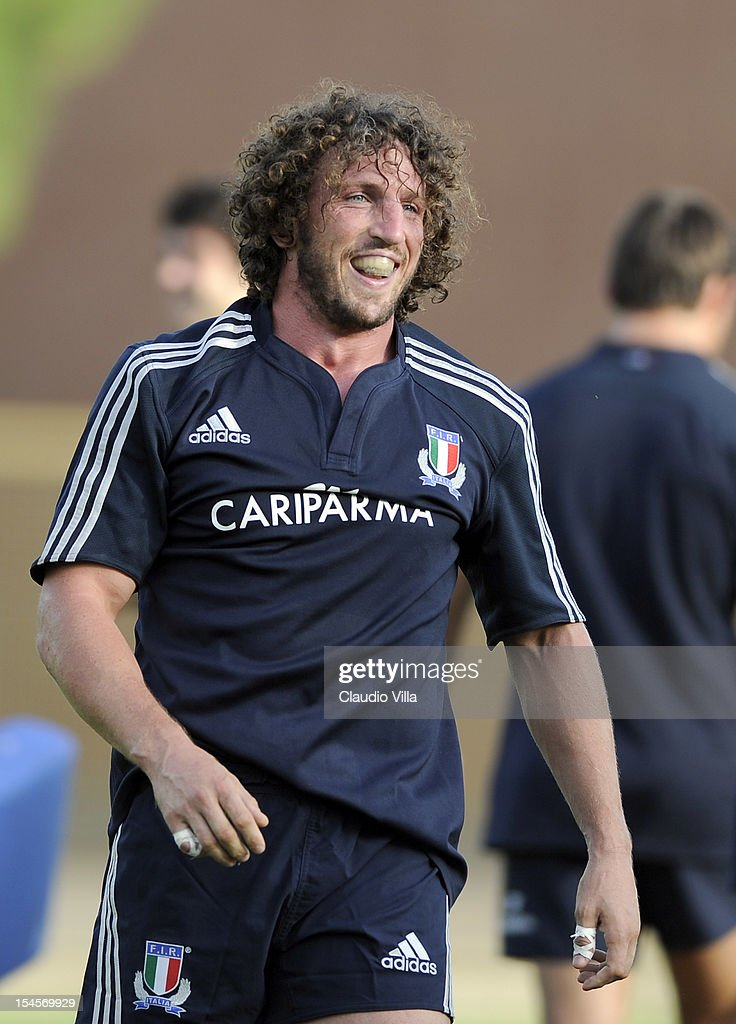 <a gi-track='captionPersonalityLinkClicked' href=/galleries/search?phrase=Mauro+Bergamasco&family=editorial&specificpeople=587113 ng-click='$event.stopPropagation()'>Mauro Bergamasco</a> of Italy during a training session on October 22, 2012 in Rome, Italy.
