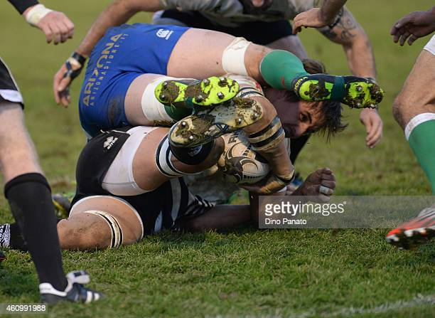 Mauro Bergamasco of Zebre Parma is challenged during the Guinness Pro 12 match between Benetton Treviso and Zebre Parma at Stadio comunale di Monigo...