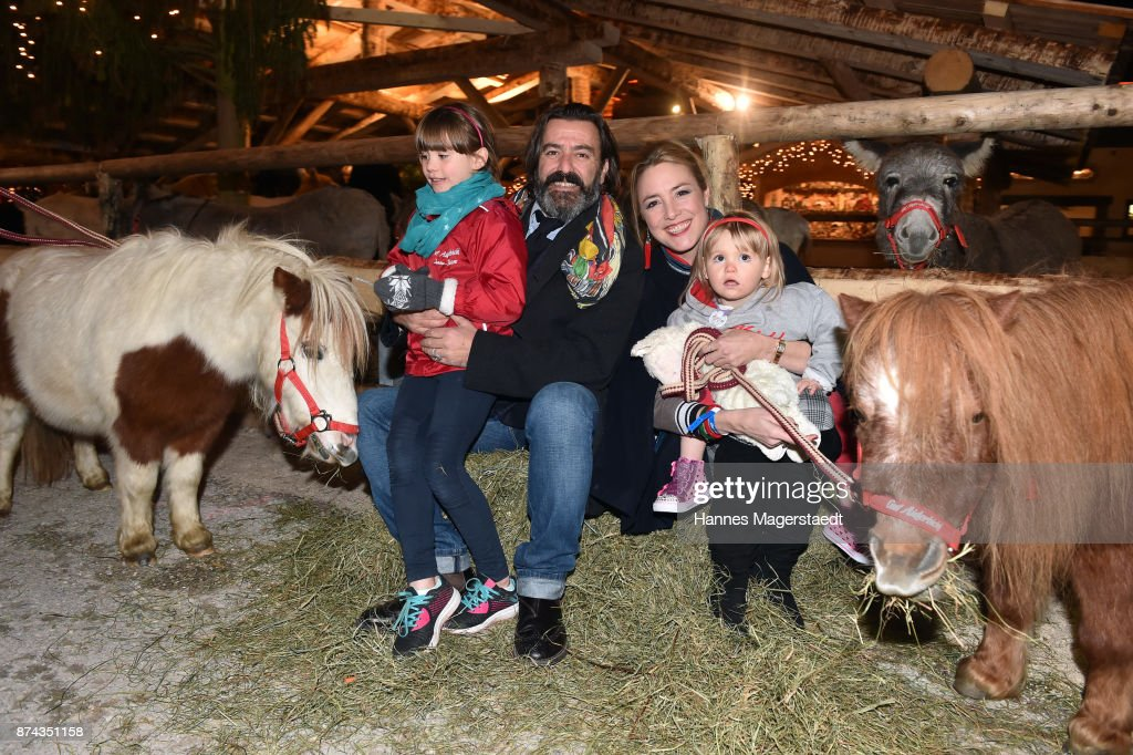Mauro Bergonzoli and hids wife Graefin Franziska Fugger-Bergonzoli and their children Blue and Victoria during the Gut Aiderbichl Christmas Market opening on November 14, 2017 in Henndorf am Wallersee, Austria.