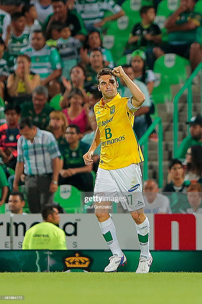 Mauro Boselli celebrates after scoring the first goal of his team during a 1st round match between Santos Laguna and Leon as part of the Apertura...