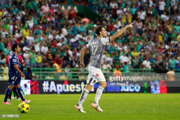 Mauro Boselli of Leon celebrates after scoring his team winning goal during the 15th round match between Leon and Puebla as part of the Torneo...