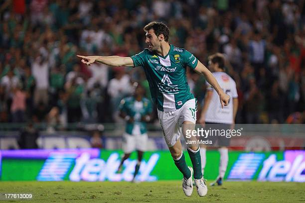 Mauro Boselli of Leon celebrates during a match between Leon and Monterrey as part of the Apertura 2013 Liga Bancomer MX at Nou Camp Stadium on...
