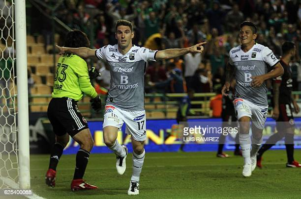 Mauro Boselli of Leon celebrates his goal against Tijuana during the first leg of their Mexican Apertura 2016 Tournament quarterfinal match at Nou...