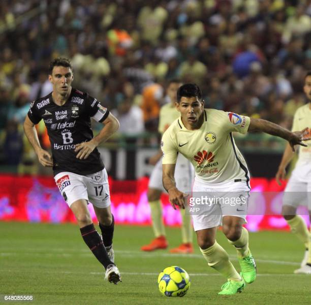 Mauro Boselli of Leon vies for the ball with Silvio Romero of America during their Mexican Clausura 2017 Tournament football match at Nou Camp...