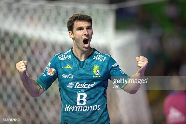 Mauro Bosseli of Leon celebrates his goal against Queretaro during their Mexican Clausura tournament football match at the Nou Camp stadium on March...