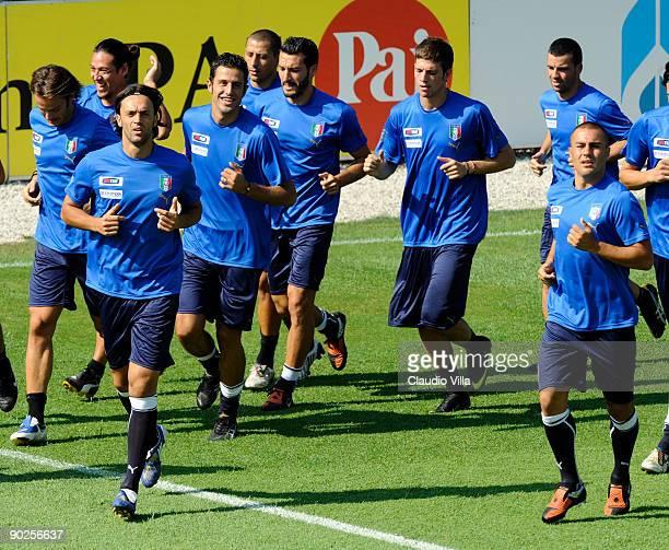 Mauro Camoranesi Nicola Legrottaglie Fabio Grosso Gianluca Zambrotta Davide Santon and Fabio Cannavaro of Italy during a team training session on...