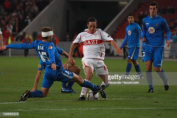 Mauro Camoranesi of Stuttgart battles for the ball with Rafa of Getafe during the UEFA Europa League group H match between VfB Stuttgart and Getafe...