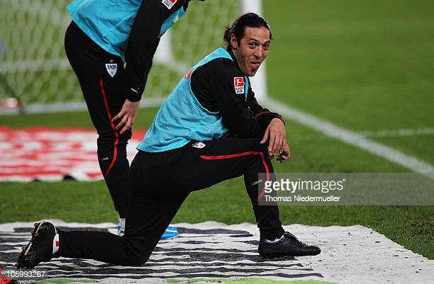 Mauro Camoranesi of Stuttgart warms up during the Bundesliga match between VfB Stuttgart and FC St Pauli at MercedesBenz Arena on October 24 2010 in...