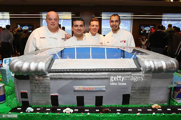 Mauro Castano Carlos Valastro Joe Faugno and Remy Gonzalez from TLC's tv program Cake Boss pose for a photo with a cake they created in honor of the...