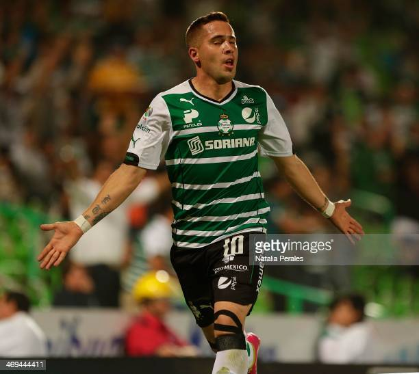 Mauro Cejas of Santos celebrates after scoring the second goal of his team during a match between Santos Laguna and Xolos as part of the Clausura...