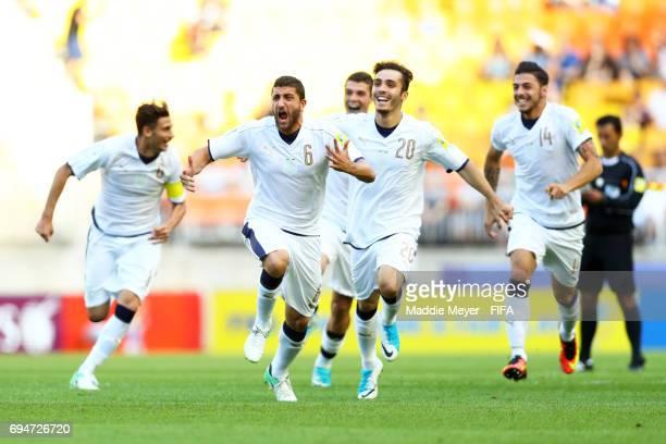 Mauro Coppolaro Alfredo Bifulco and Giuseppe Pezzella of Italy celebrate after defeating Uruguay in penalty kicks during the FIFA U20 World Cup Korea...