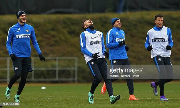 Mauro Emanuel Icardi Alex Telles Eder Citadin Martins and Jeison Murillo of FC Internazionale Milano train during the FC Internazionale training...
