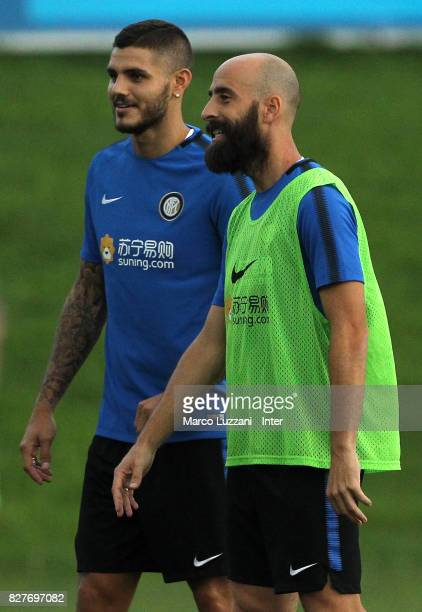 Mauro Emanuel Icardi and Borja Valero of FC Internazionale look on during the FC Internazionale training session at the club's training ground Suning...