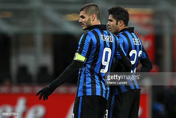 Mauro Emanuel Icardi and Eder Citadin Martins of FC Internazionale Milano look on during the Serie A match between FC Internazionale Milano and AC...