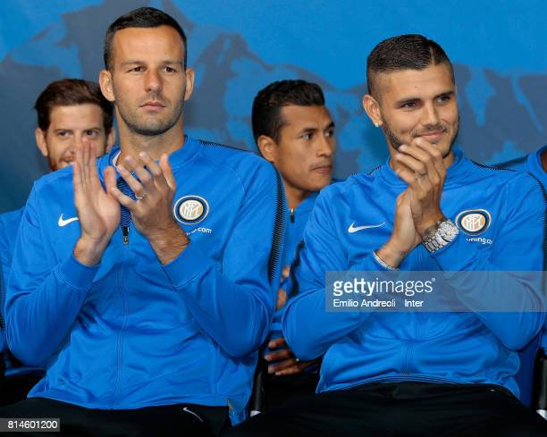 Mauro Emanuel Icardi and Samir Handanovic of FC Internazionale Milano attend the FC Internazionale Milano team official presentation on July 14 2017...