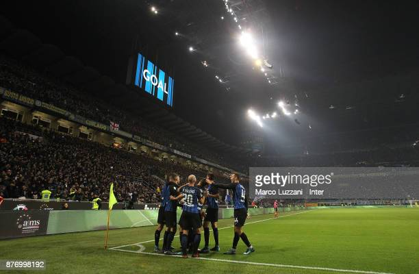 Mauro Emanuel Icardi of FC Internazionale celebrates with his teammates after scoring during the Serie A match between FC Internazionale and Atalanta...