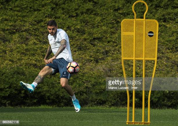 Mauro Emanuel Icardi of FC Internazionale in action during the FC Internazionale training session at the club's training ground Suning Training...