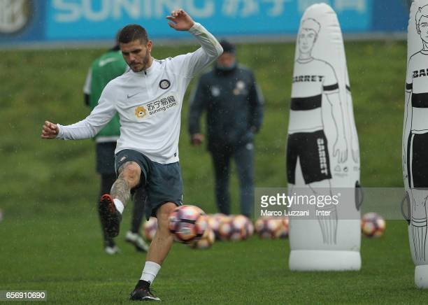 Mauro Emanuel Icardi of FC Internazionale kicks a ball during the FC Internazionale training session at the club's training ground Suning Training...