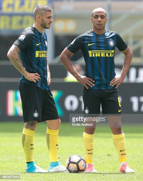 Mauro Emanuel Icardi of FC Internazionale Milano and his teammate Joao Mario react during the Serie A match between FC Internazionale and US Sassuolo...