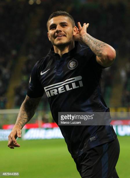 Mauro Emanuel Icardi of FC Internazionale Milano celebrates after scoring his second goal during the Serie A match between FC Internazionale Milano...