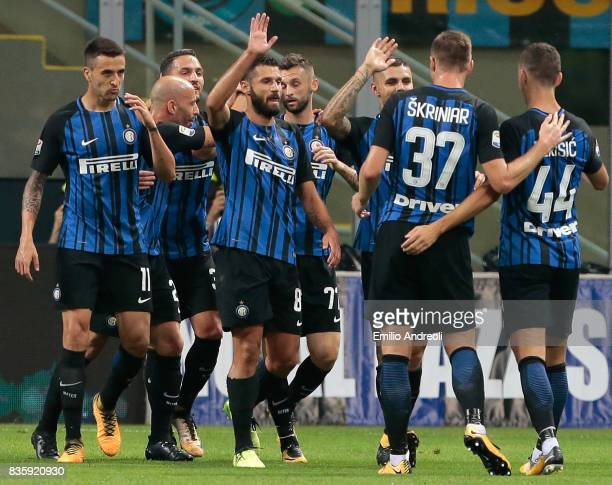 Mauro Emanuel Icardi of FC Internazionale Milano celebrates his second goal with his teammates during the Serie A match between FC Internazionale and...