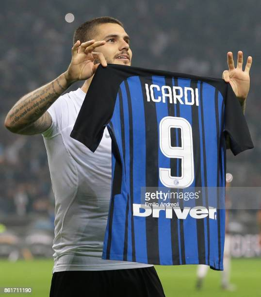 Mauro Emanuel Icardi of FC Internazionale Milano celebrates his third goal during the Serie A match between FC Internazionale and AC Milan at Stadio...
