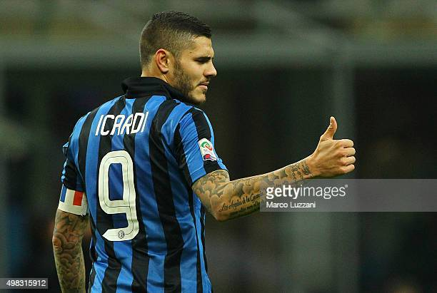 Mauro Emanuel Icardi of FC Internazionale Milano gestures during the Serie A match between FC Internazionale Milano and Frosinone Calcio at Stadio...
