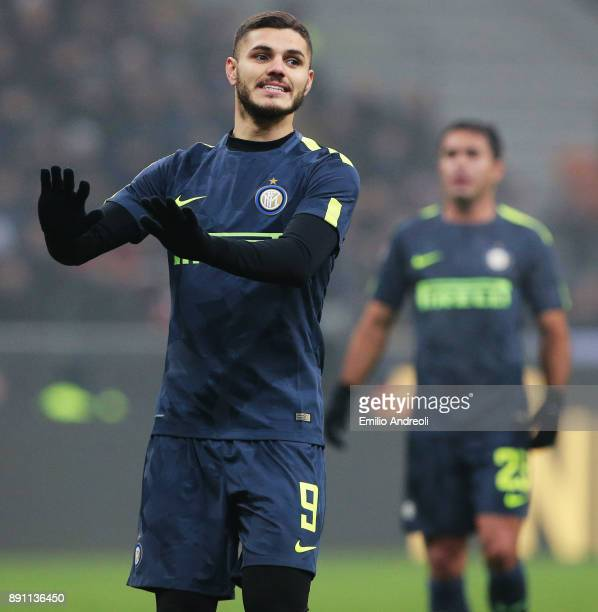 Mauro Emanuel Icardi of FC Internazionale Milano gestures during the TIM Cup match between FC Internazionale and Pordenone at Stadio Giuseppe Meazza...