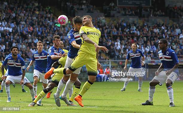 Mauro Emanuel Icardi of FC Internazionale Milano is challenged by Ervin Zukanovic of UC Sampdoria during the Serie A match between UC Sampdoria and...