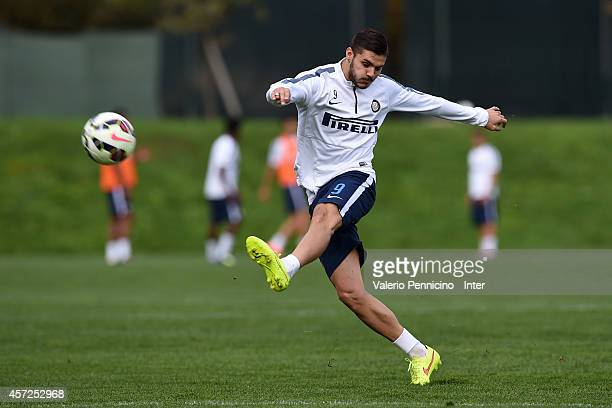 Mauro Emanuel Icardi of FC Internazionale Milano kicks the ball during FC Internazionale training session at the club's training ground on October 15...