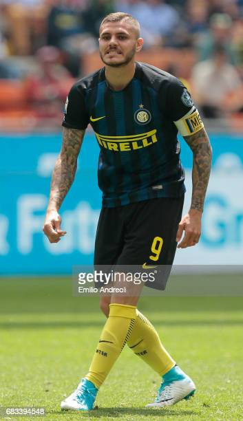 Mauro Emanuel Icardi of FC Internazionale Milano looks on during the Serie A match between FC Internazionale and US Sassuolo at Stadio Giuseppe...