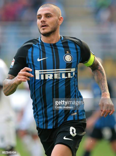 Mauro Emanuel Icardi of FC Internazionale Milano looks on during the Serie A match between FC Internazionale and Genoa CFC at Stadio Giuseppe Meazza...