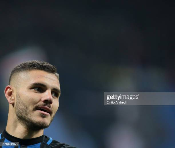 Mauro Emanuel Icardi of FC Internazionale Milano looks on during the Serie A match between FC Internazionale and Atalanta BC at Stadio Giuseppe...