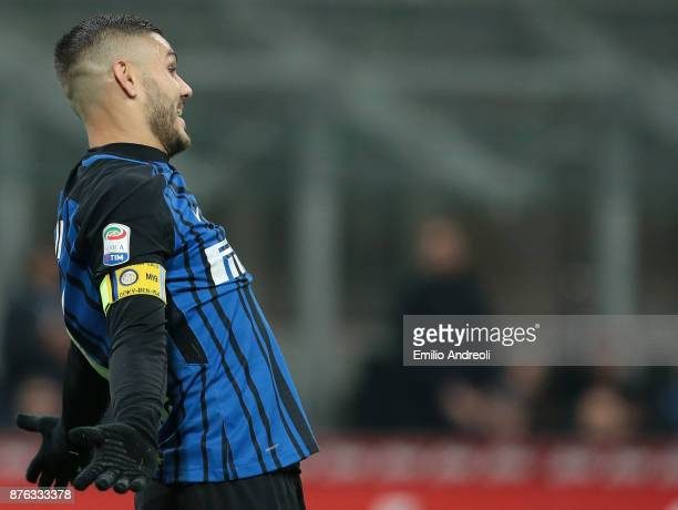 Mauro Emanuel Icardi of FC Internazionale Milano reacts during the Serie A match between FC Internazionale and Atalanta BC at Stadio Giuseppe Meazza...