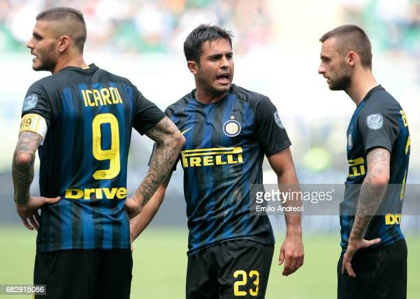 Mauro Emanuel Icardi of FC Internazionale Milano with his teammates Eder Citadin Martins and Marcelo Brozovic show their dejection during the Serie A...