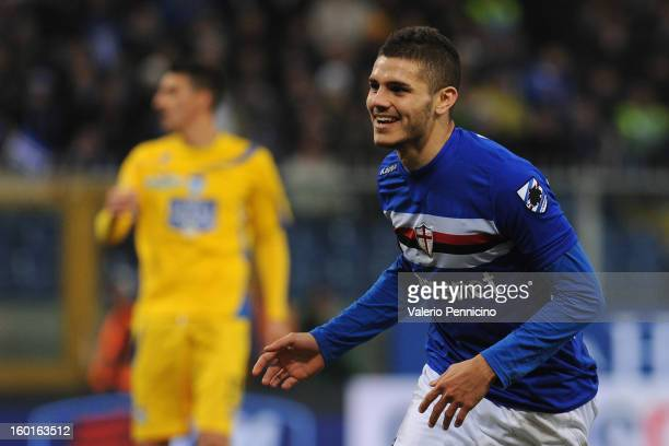 Mauro Emanuel Icardi of UC Sampdoria celebrates his fourth goal during the Serie A match between UC Sampdoria and Pescara at Stadio Luigi Ferraris on...