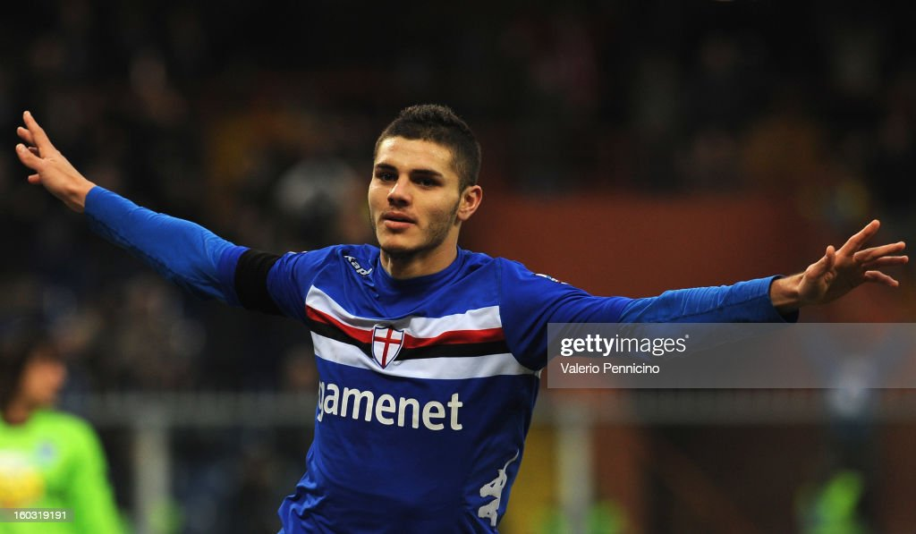 Mauro Emanuel Icardi of UC Sampdoria celebrates his goal during the Serie A match between UC Sampdoria and Pescara at Stadio Luigi Ferraris on January 27, 2013 in Genoa, Italy.