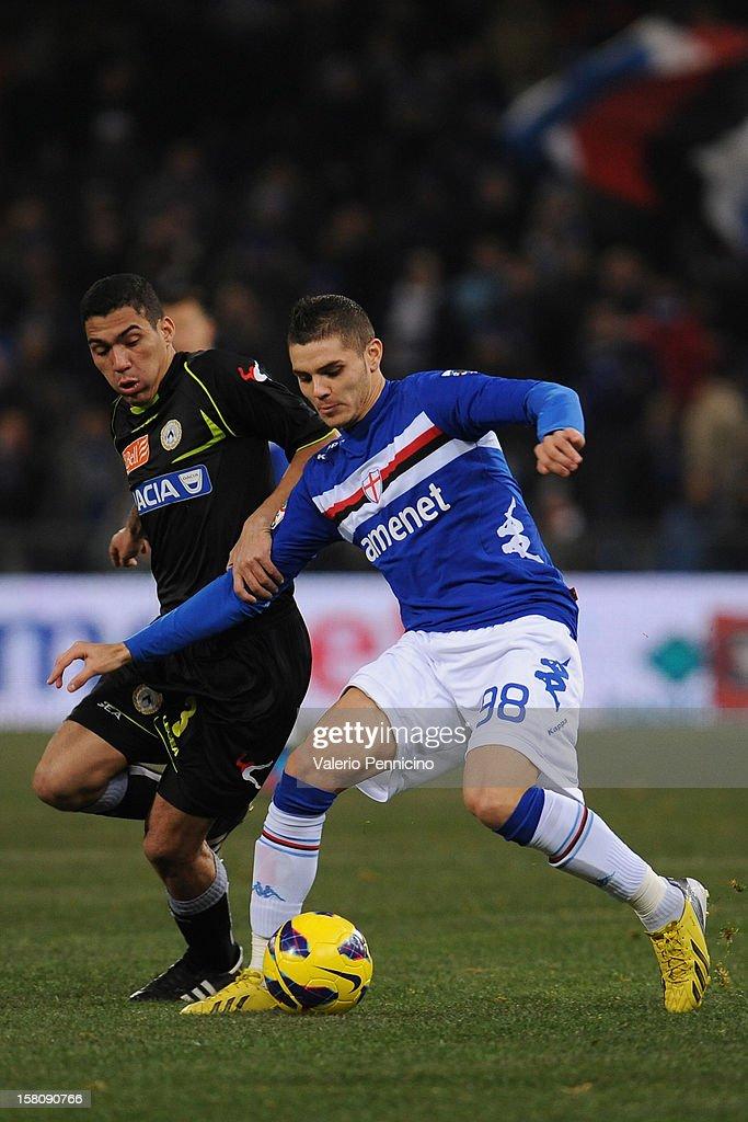 Mauro Emanuel Icardi (R) of UC Sampdoria competes with Allan of Udinese Calcio during the Serie A match between UC Sampdoria and Udinese Calcio at Stadio Luigi Ferraris on December 10, 2012 in Genoa, Italy.