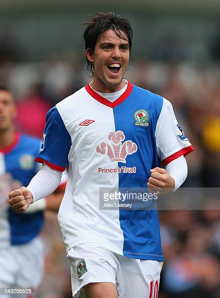 Mauro Formica of Blackburn Rovers celebrates after scoring the opening goal during the Barclays Premier League match between Blackburn Rovers and...