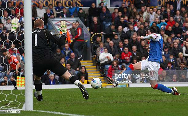 Mauro Formica of Blackburn Rovers scores the opening goal during the Barclays Premier League match between Blackburn Rovers and Norwich City at Ewood...