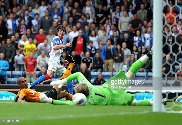 Mauro Formica of Blackburn Rovers scores the opening goal past Wayne Hennessey of Wolverhampton Wanderers during the Barclays Premier League match...